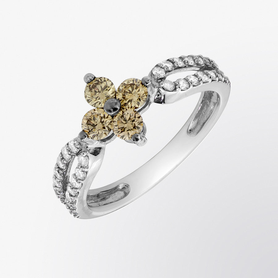 Brown Diamond and Diamond Clover Ring