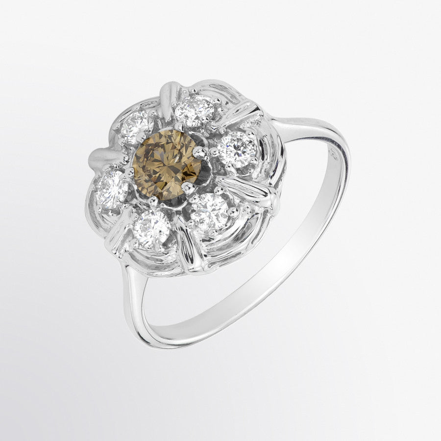 Fifth Bond Brown Diamond And Diamond Flower Ring