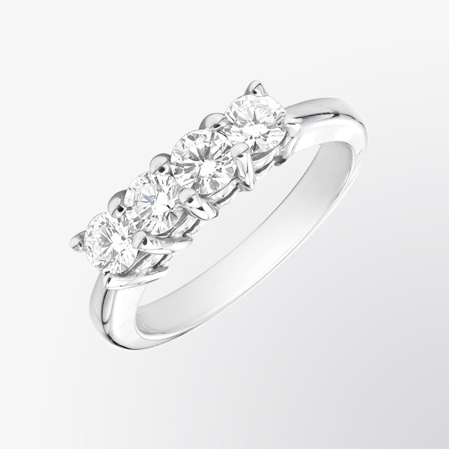 si band stone four i h gold ring baguette diamond white wedding in
