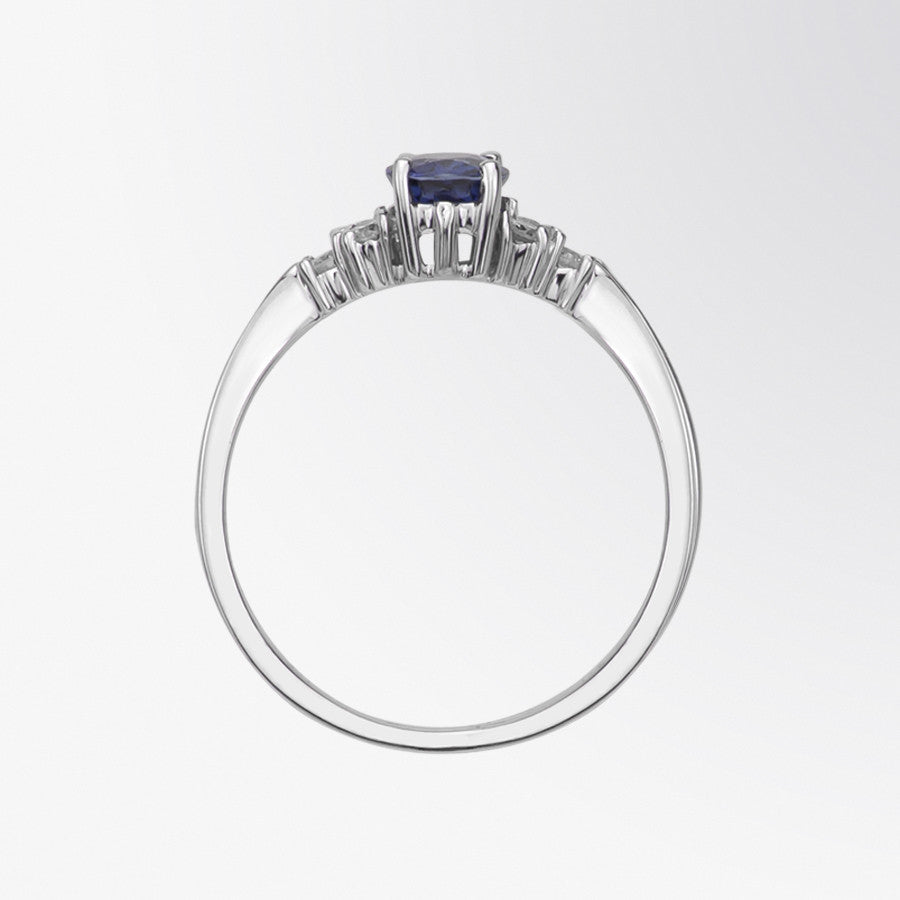 Oval Cut Blue Sapphire and Diamond Ring