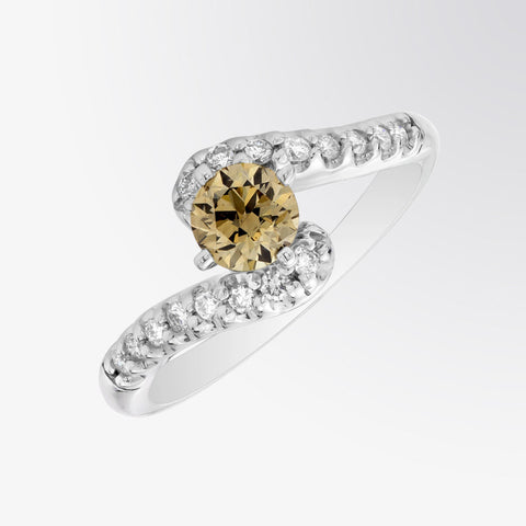 Brown Diamond and Diamond Intermix Ring