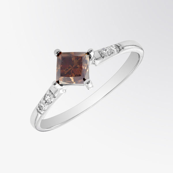 Princess Cut Brown Diamond and Diamond Ring
