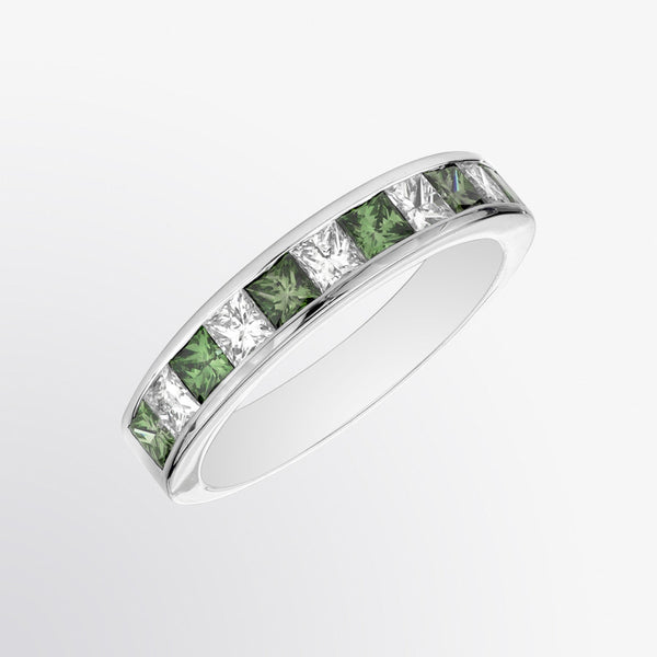 Channel Set Green Diamond and Diamond Ring