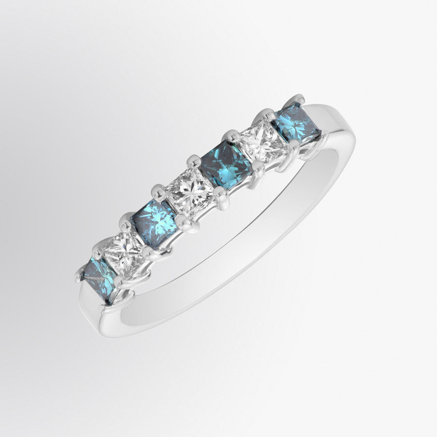 Seven Stone Blue Diamond and Diamond Ring