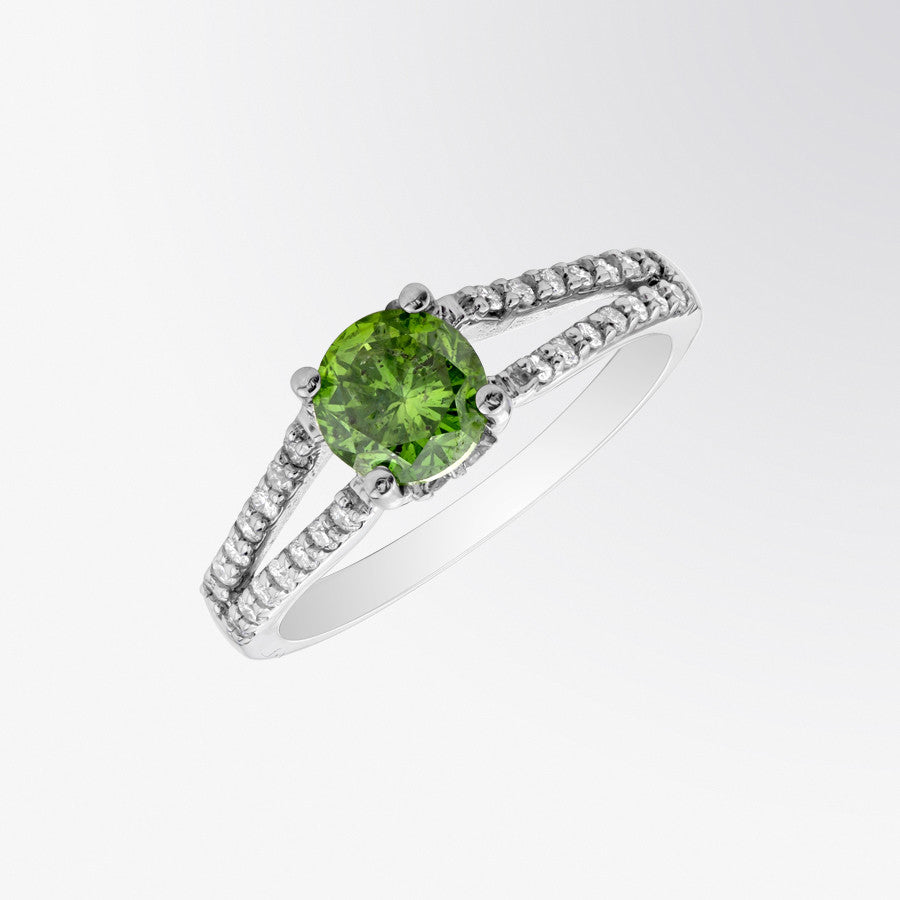 Green Diamond and Diamond Split Shank Ring