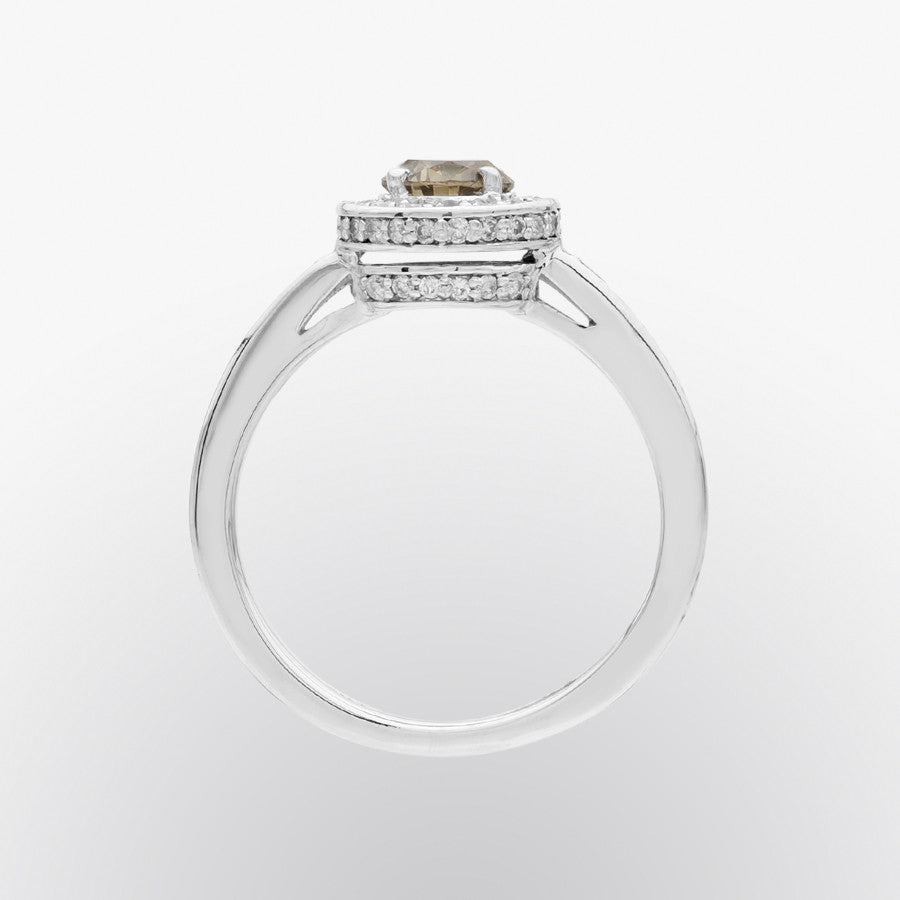 Brown Diamond and Diamond Dome Ring