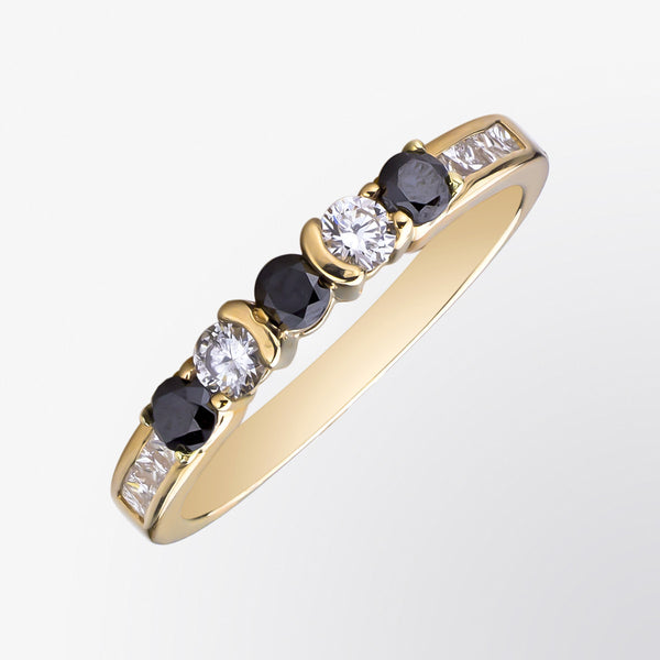 Black Diamond and Diamond Layer Ring