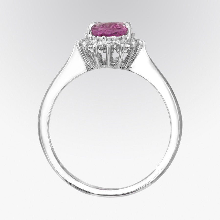 Classic Pink Sapphire and Diamond Ring