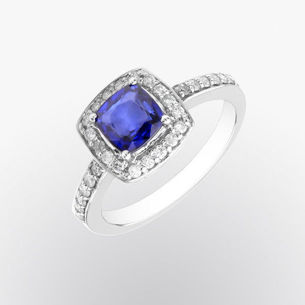 Cushion Cut Blue Sapphire and Diamond Ring