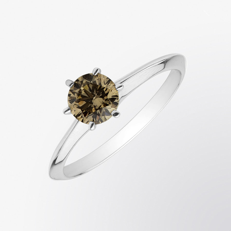 Classic Brown Diamond Solitaire Ring