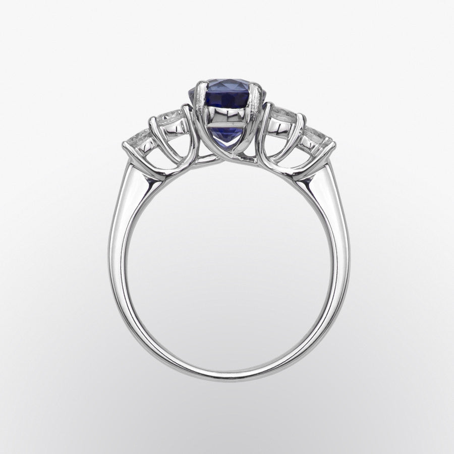 Blue Sapphire and Double Diamond Ring