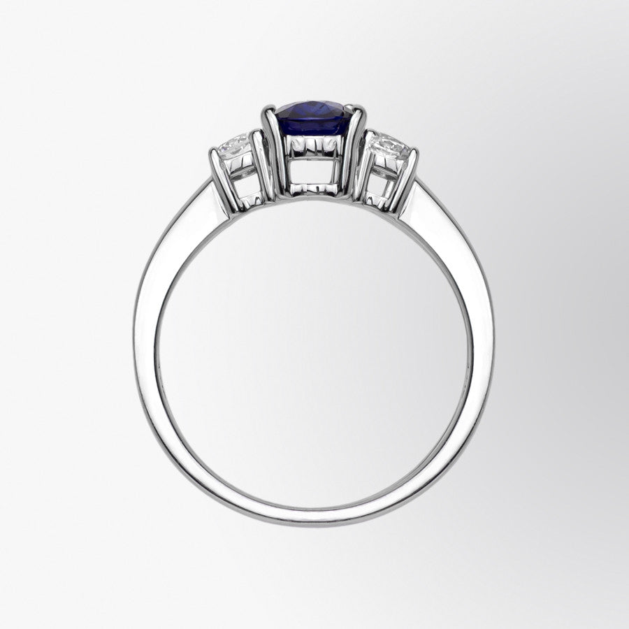 Three Stone Blue Sapphire and Diamond Ring