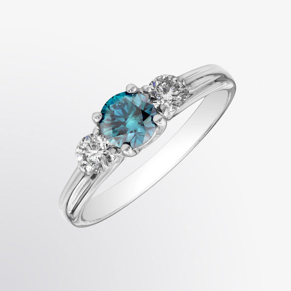 Three Stone Blue Diamond and Diamond Ring