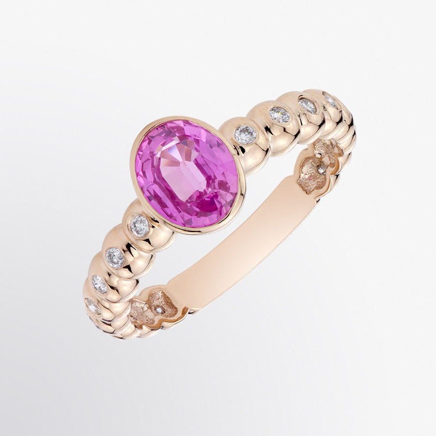 Pink Sapphire and Diamond Solitaire Ring