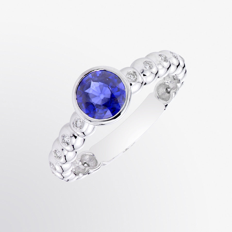 Blue Sapphire and Diamond Solitaire Ring
