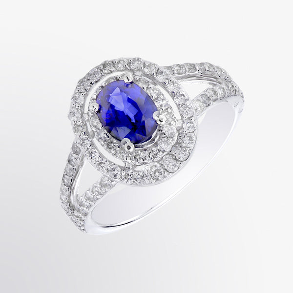 Blue Sapphire and Diamond Double Border Ring