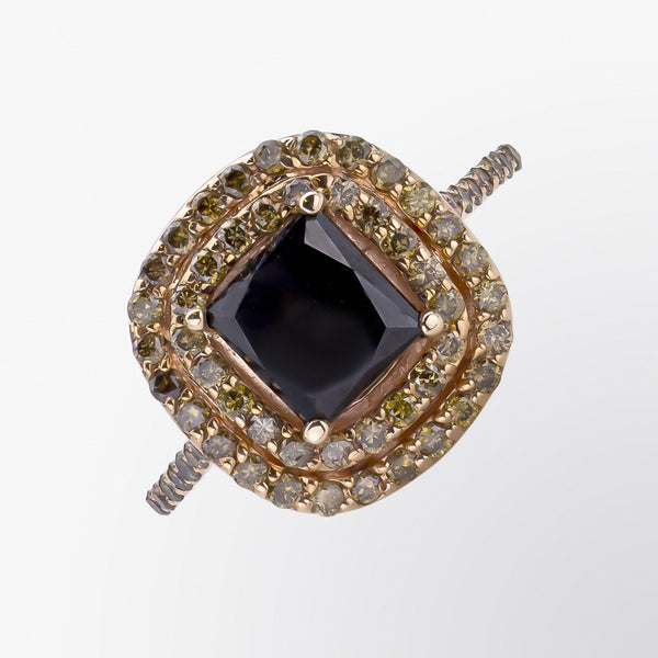 Black and Brown Diamond Double Halo Ring