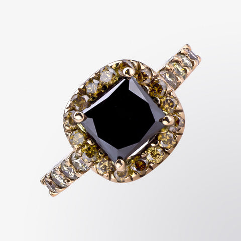 Black and Brown Diamond Halo Ring