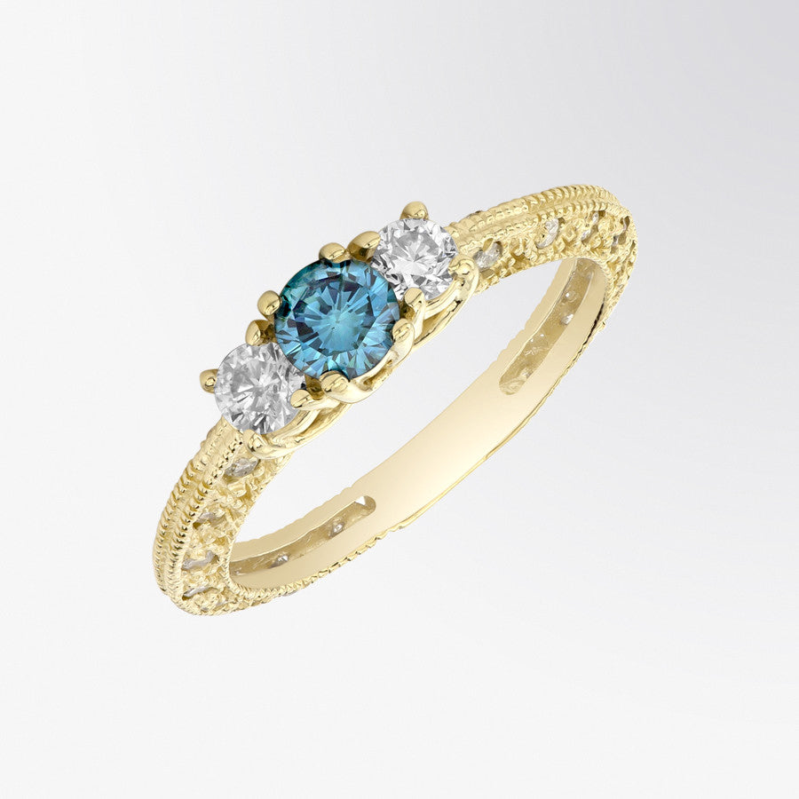 Vintage Blue Diamond and Diamond Ring