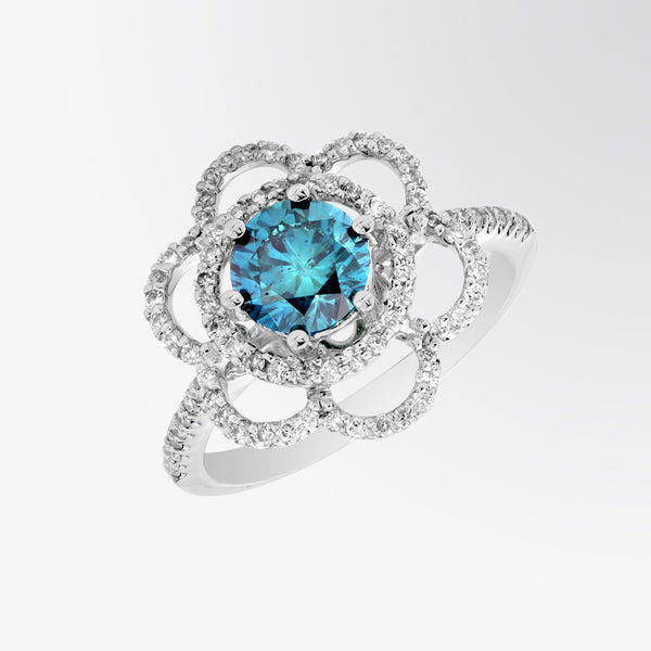 Blue Diamond and Diamond Flower Ring