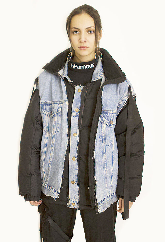 RECONSTRUCTED 2-IN-1 DENIM PUFFER JACKET