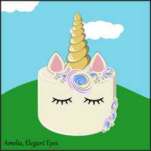 Load image into Gallery viewer, Single Tier Amelia Rainbow Unicorn Cake - Unicorn Escapade Singapore
