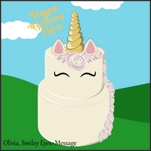 Load image into Gallery viewer, Two Tier Olivia Unicorn Cake - Unicorn Escapade Singapore