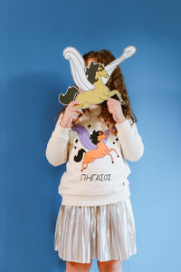 Orange and Purple Pegasus Beige Sweatshirt