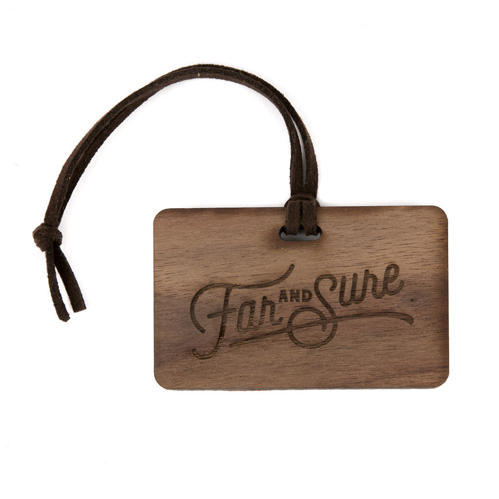 Far & Sure Complimentary Bag Tag - Walnut