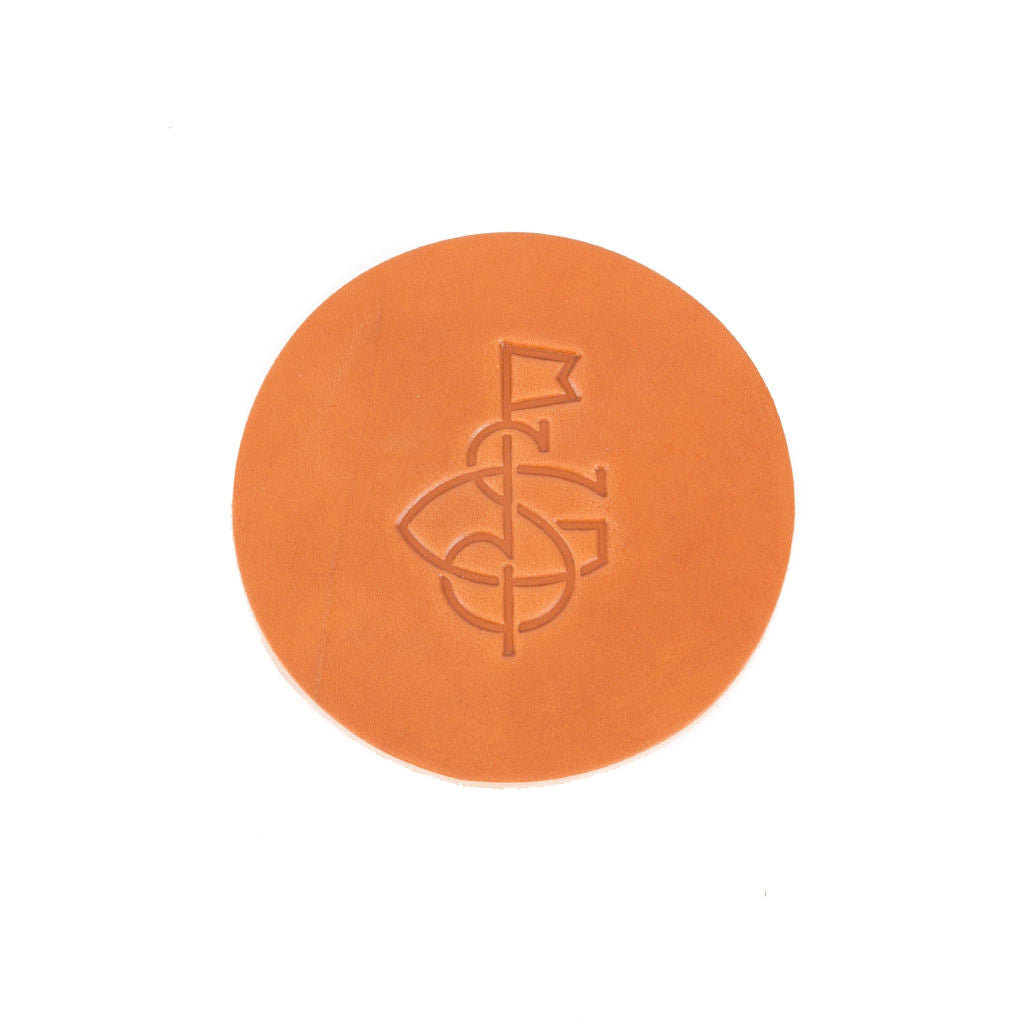 Seamus Monogram Leather Coaster