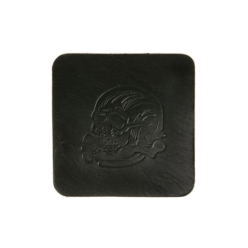 SEAMUS X DENTON WATTS® SKULL & CROSSBONES BLACK LEATHER COASTER