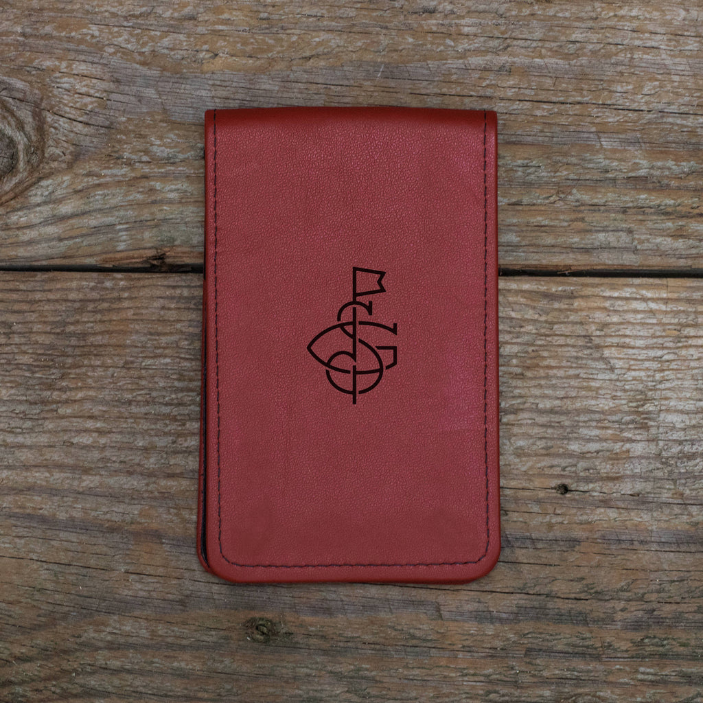 Red Leather Yardage Book Cover