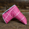 Sunbrella® Pink & White Windowpane Magnet Blade Putter Cover