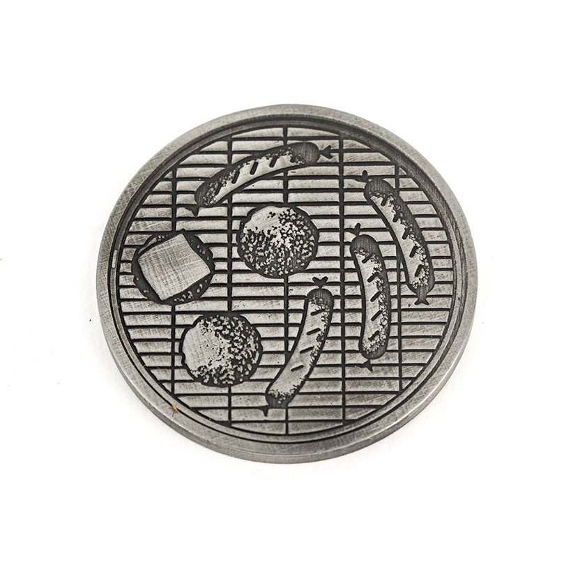 Burgers and Brats Manhole Cover® Ball Mark - Steel