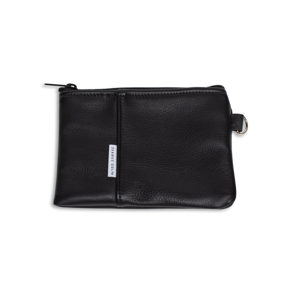 Black Leather Zip Pouch with Herringbone Taping