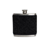 Black Herringbone Tweed Wrapped Flask
