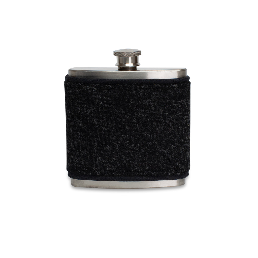Black Harris Tweed Wrapped Flask