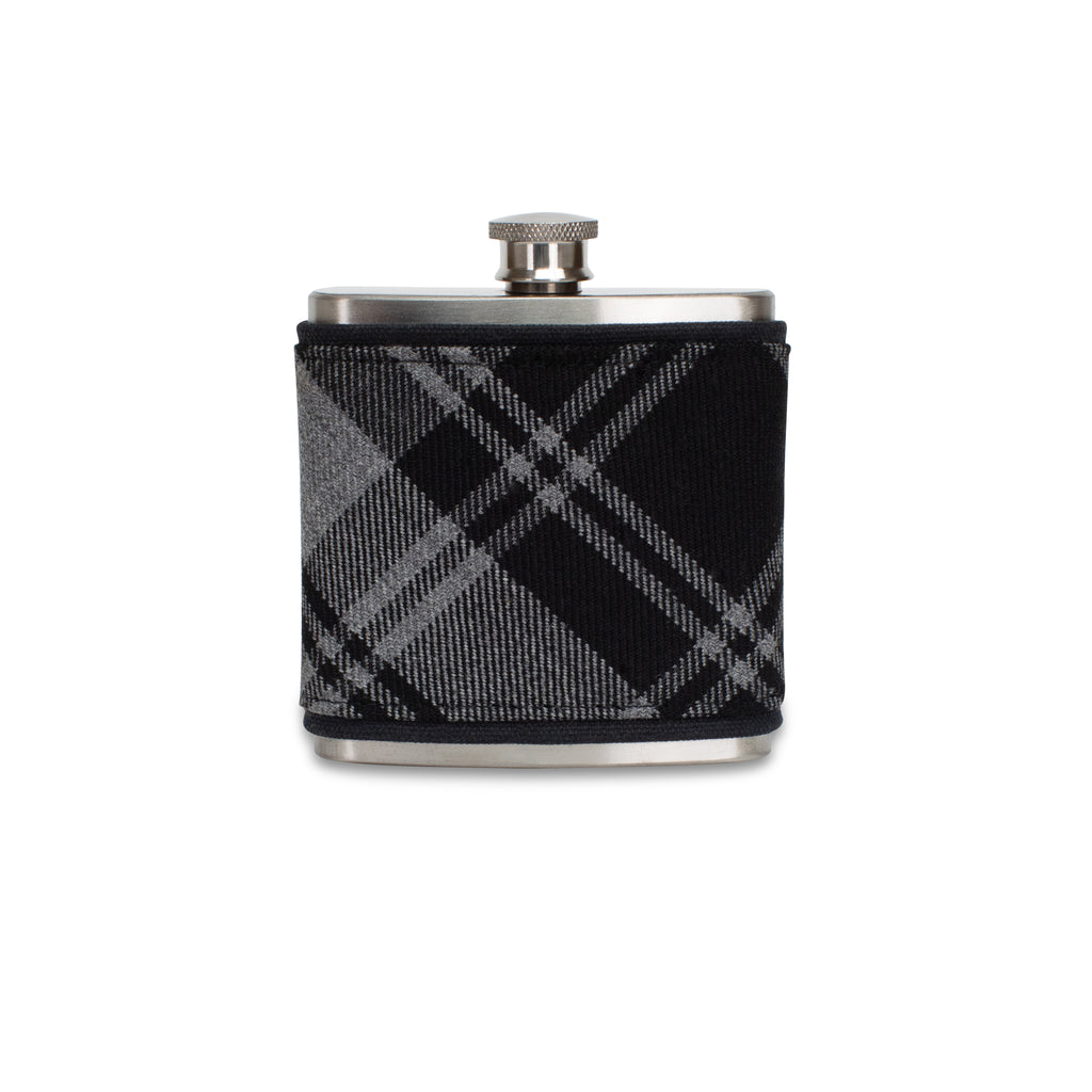 Douglas Grey Modern Tartan Wrapped Flask
