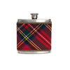 Red Stewart Tartan Wrapped Flask