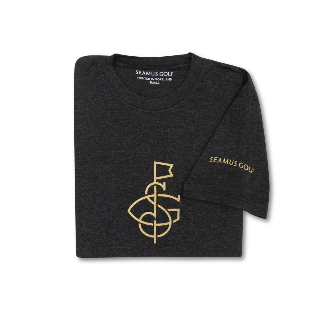 SEAMUS SG FLAG T-Shirt - Gold on Charcoal