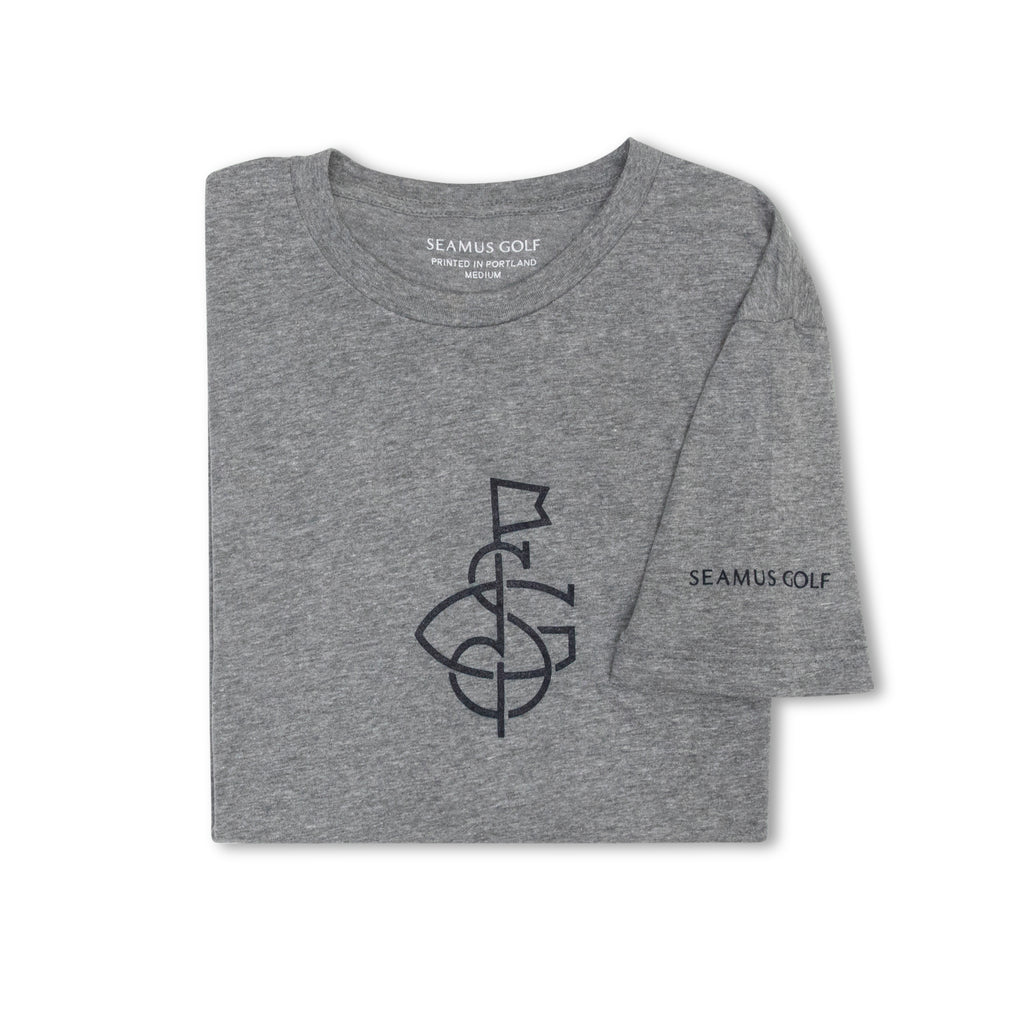 SEAMUS SG Flag T-Shirt - Navy on Grey
