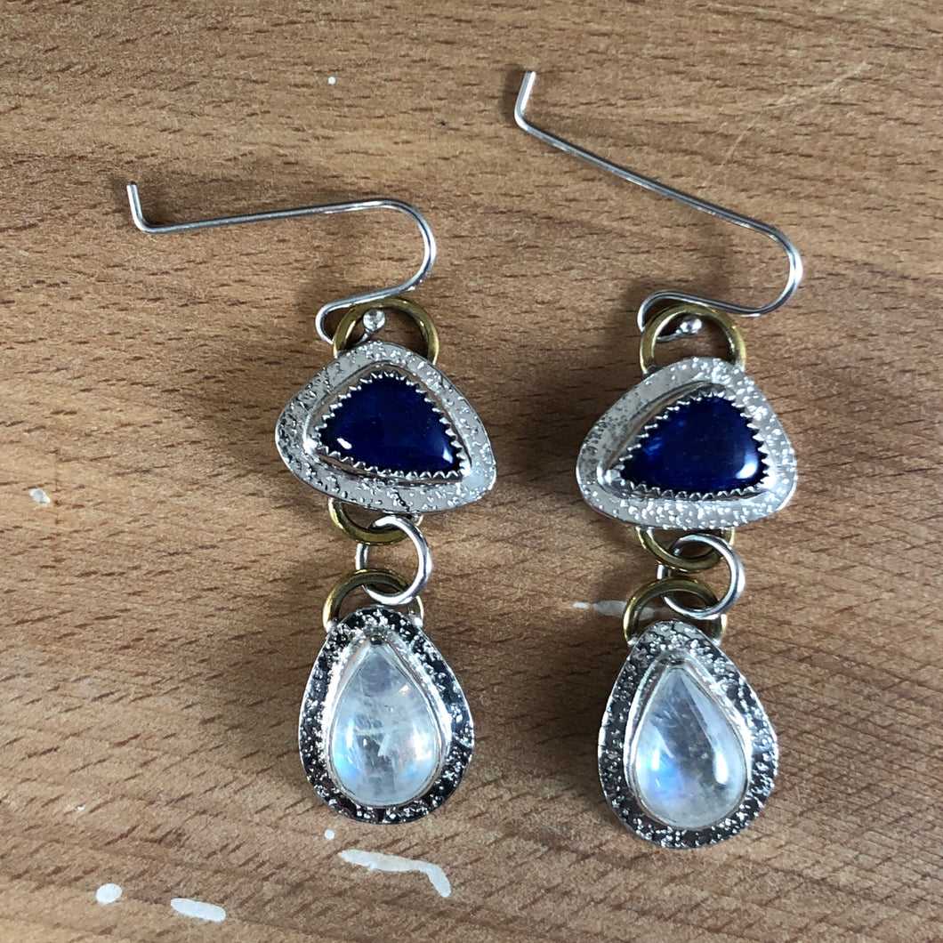 Mikra Drop Earrings-Moonstone + Lapis Lazuli