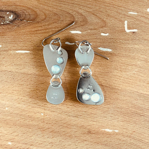 Mikra Drop Earrings-Moonstone + Sterling Opal