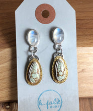 Mikra Drop Earrings-Moonstone + Treasure Mountain Turquoise