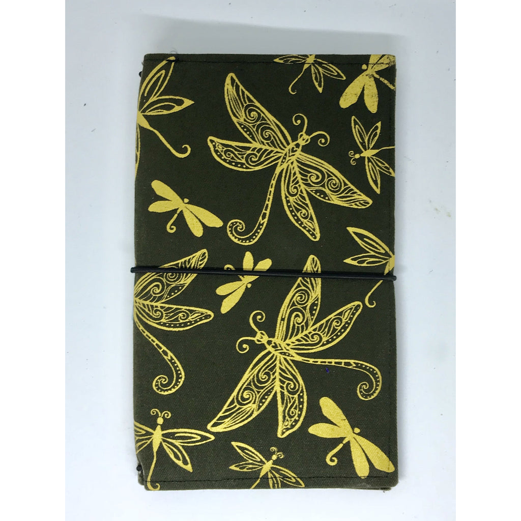 Dragonfly hand screen printed art journal cover with handmade book