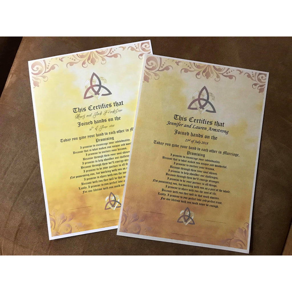 Hand fasting Certificate A4 size