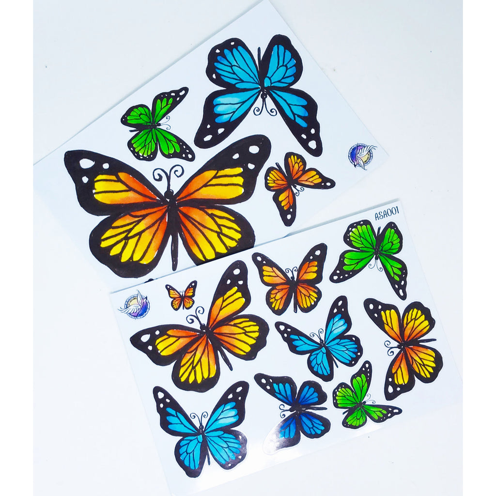 Die cut Butterfly Stickers - From Original watercolour Illustrations by Lucy