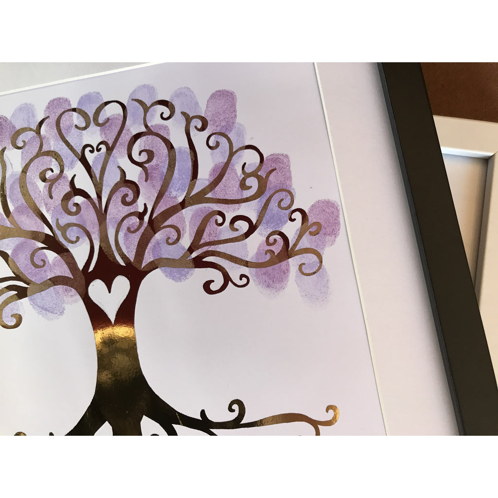 Gold foil Finger print tree with inkpads.