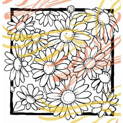 Daisy Square digital Stamp