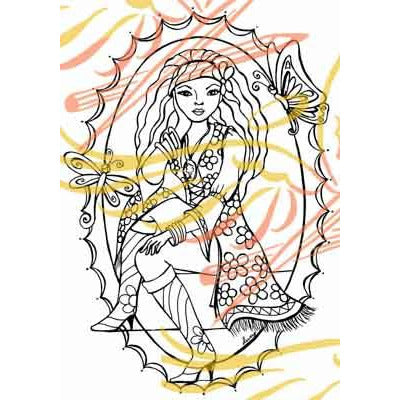 Hippie Chick Digital Stamp